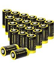 morpilot CR123A Batterier 20 Pack, 1500mAh 3V Engångs CR17345 Litiumbatteri för Ficklampa, Mikrofoner, Blixtar, Leksaker - inte Kompatibelt med Vissa Arlo