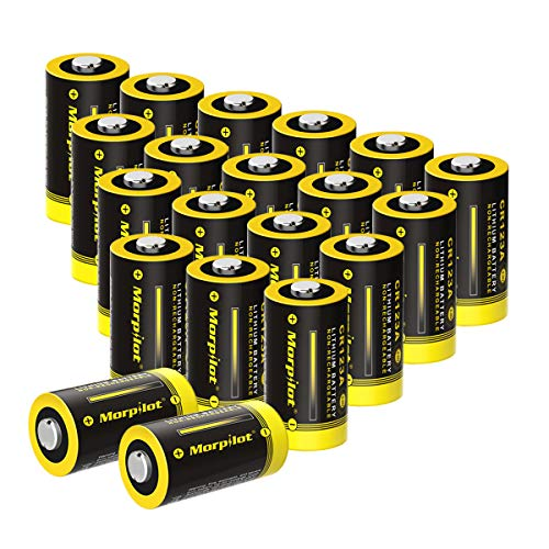 - Morpilot 3V CR123A Lithium Battery, High Capacity 20 Pack 1450mAh Non-Rechargeable CR123A Batteries PTC Protected for Flashlight, Camera, Toys, Alarm System (Not Compatible with Arlo Cameras)