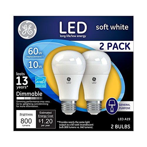 GE Dimmable LED Light Bulbs, A19 General Purpose (60 Watt Replacement LED Light Bulbs), 800 Lumen, Medium Base Light Bulbs, Soft White, 2-Pack LED Bulbs