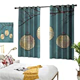 Warm Family White Curtains Lantern,Three Paper Lanterns Hanging on Branches Lighting Fixture Source Lamp Boho,Teal Pale Yellow 54''x84'',Blackout Patio Door Curtain Panel