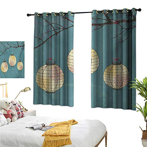 Warm Family Navy Blue Curtains Lantern,Three Paper Lanterns Hanging on Branches Lighting Fixture Source Lamp Boho,Teal Pale Yellow 72''x96'',Room Darkening Thermal Insulated by Warm Family (Image #8)