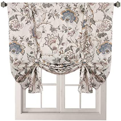 H.VERSAILTEX Thermal Insulated Blackout Curtain Adjustable Tie Up Shade Rod Pocket Panel for Small Window-42 Wide by 63 Long-Vintage Floral Pattern in Sage and Brown