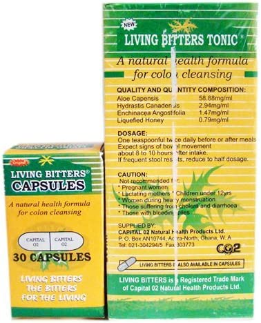 Capital 02 Living Bitters Tonic Capsules ALL NATURAL, Expires 2017, Unisex