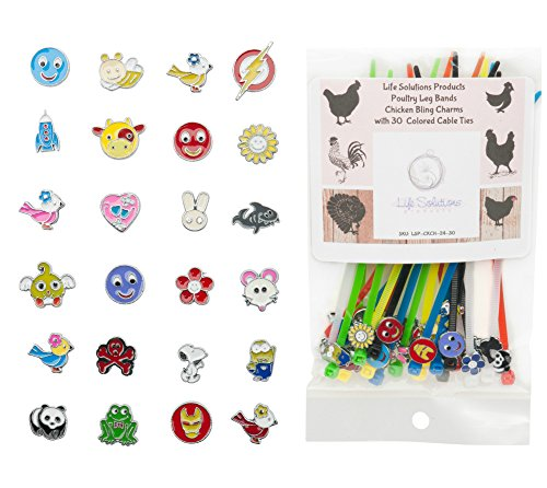LSP - Poultry Leg Bands - Chicken BLING Charms made from Stainless Steel, 24 ASSORTED pack with Multi Colored DURABLE Plastic Cable Ties - One SIZE FITS (Turkey Size For 4 Adults)