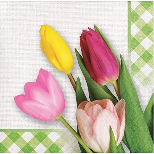 (Creative Converting 335306 Spring Tulips Beverage Napkins 5