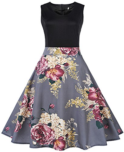 Dress Swing LUNAJANY Sleeveless Fit Vintage Flare Women's Print Floral Grey and qzwp4BZq8