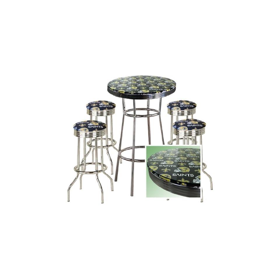 NEW ORLEANS SAINTS FOOTBALL Glass Top Chrome Bar Pub Table Set With 4 Swivel Bar Stools   Home Bars