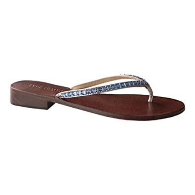 9d836a032e6341 Casual Barn Women s Fancy Sapphire Swarovski Crystals Classic Thong Leather  Sandals ...