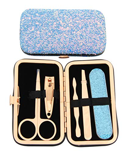 Maketop Women's Manicure Set, Glitter Travel Pedicure Set Nail Clipper Set(Glitter Blue)