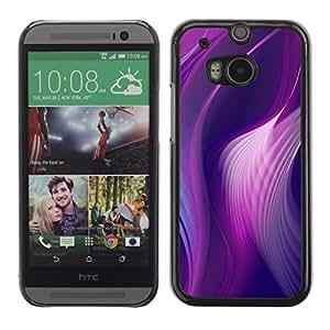 Líneas curvas púrpura rosada del pavo real de vinilo- Metal de aluminio y de plástico duro Caja del teléfono - Negro - HTC One M8