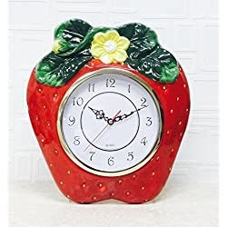 3D Strawberry Shaped Hand-Painted Cermic Kitchen Wall Clock 13-1/2H, 83592 BY ACK 16.16.4.4