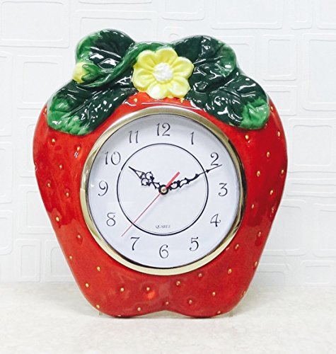 (3D Strawberry Shaped Hand-Painted Cermic Kitchen Wall Clock 13-1/2