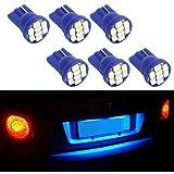 Partsam 6PCS Blue T10 168 194 2825 8-Epistar-3020-SMD LED Bulbs for License Plate Lights