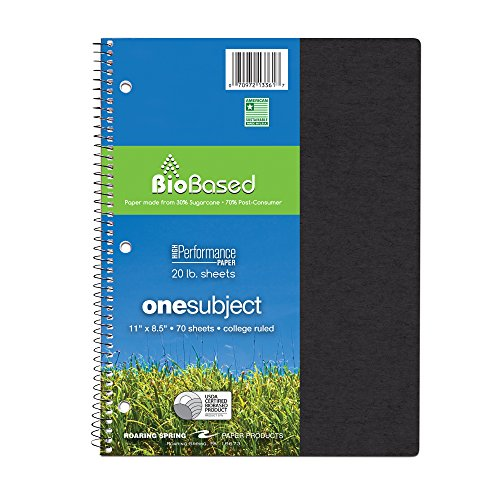 """Roaring Spring Environotes Notebook, One Subject, 11"""" x 8.5"""", 70 sheets, College Ruled, 20# BioBase Paper"""