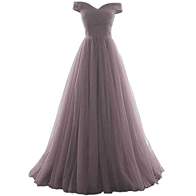 3f88065cc64 Simple Pure Color Tulle Ruche Off-Shoulder Homecoming Dress Ball Gown for  Women Grey