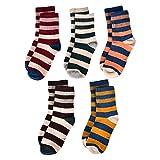 #6: Flanhiri Kids Boys Striped Cotton Crew Socks 5 Pack