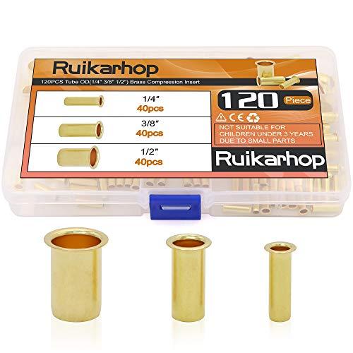 """Ruikarhop 120PCS Tube OD(1/4"""" 3/8"""" 1/2"""") Brass Compression Insert,Brass Compression Fitting Assortment Kit"""
