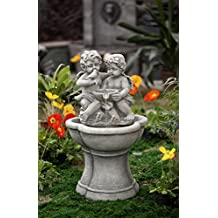 "30.7"" LED Lighted Charming Cherubs and Bird Outdoor Patio Garden Water Fountain"