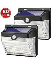 Luce Solare Esterno, Kilponen 60 LED Lampada Solare con Sensore di Movimento [2000mAh] Luci Solari da Parete 270º Illuminazione Impermeabile Solare LED con 3 Modalità per Giardino Patio【2 Pezzi】