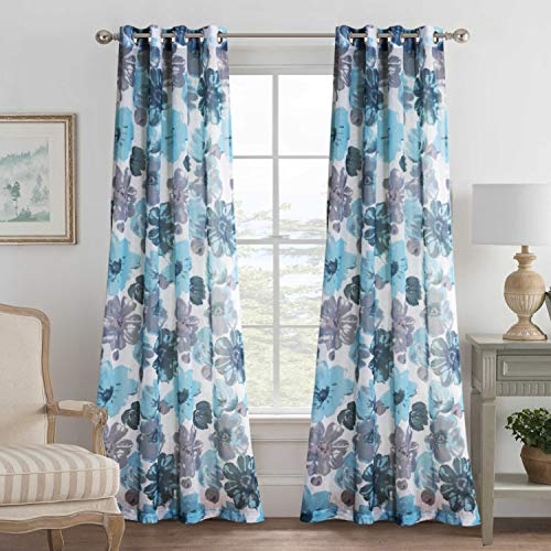 Classical Vintage Blooming Floral Pair Set Nickel Grommet Natural Linen Blended Semi-Sheers Bedroom Premium Soft Rich Material Curtain Panels for Living Room - 52x84-Inch-Blue/Gray Pattern