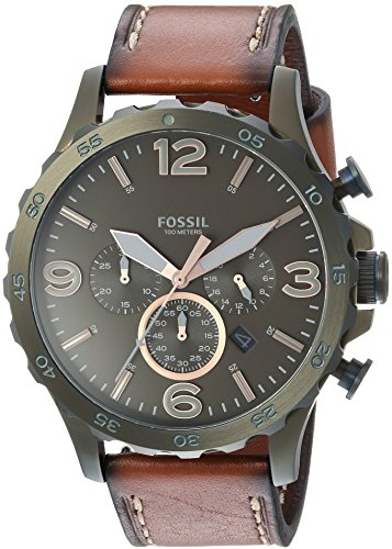 Fossil Men's '50mm Nate' Quartz Stainless Steel and Leather Casual Watch, Color:Brown (Model: JR1531)