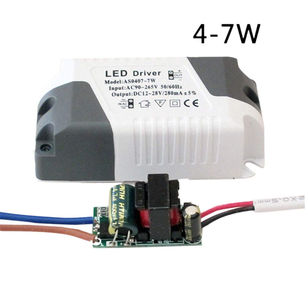 LED Driver DIY 3W-24W Dimmable Ceilling Light Lamp Transformer Power Supply (4-7W, 2 Pack)