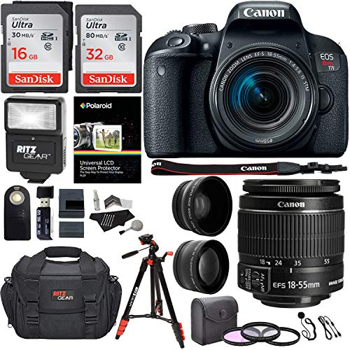 """Canon EOS Rebel T6i 24.2 MP DSLR Camera, 18-55mm f/3.5-5.6 STM Lens, RitzGear HD .43x Wide Angle & 2.2X Telephoto Lenses, 48 GB SDHC Memory + 48"""" Tripod, 58mm Filter Kit, Bag and Accessory Bundle"""