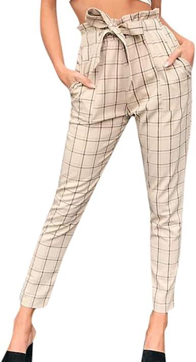 Dacwin Fashion Pantalones Largos A Cuadros Para Mujer Casuales Sueltos Amarillo L Amazon Com Mx Ropa Zapatos Y Accesorios