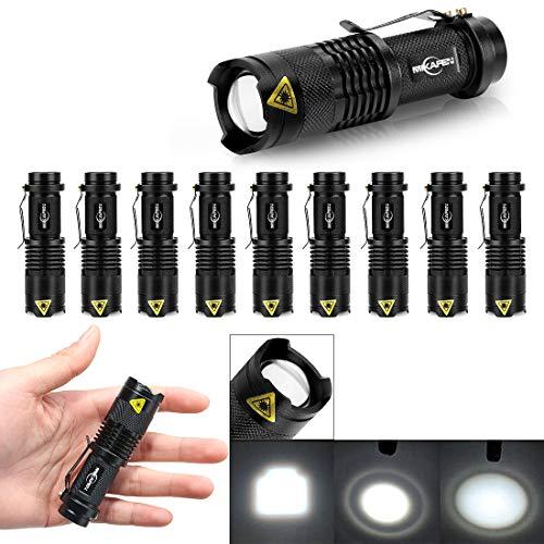 - 10 Pack Mini Flashlights LED Flashlight 300lm Adjustable Focus Zoomable Light (Black)