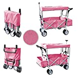 PINKFREE ICE COOLER PUSH AND PULL HANDLE FOLDING BABY STROLLER WAGON OUTDOOR SPORT COLLAPSIBLE KIDS TROLLEY W/ CANOPY GARDEN UTILITY SHOPPING TRAVEL BEACH CART - EASY SETUP NO TOOL NECESSARY