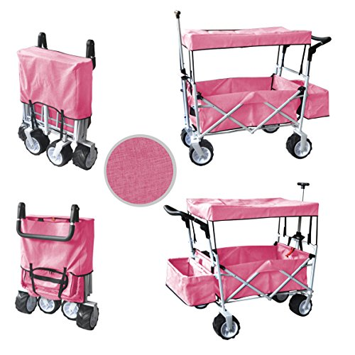 PINKFREE ICE COOLER PUSH AND PULL HANDLE FOLDING BABY STROLLER WAGON OUTDOOR SPORT COLLAPSIBLE KIDS TROLLEY W/ CANOPY GARDEN UTILITY SHOPPING TRAVEL BEACH CART - EASY SETUP NO TOOL NECESSARY (Push Pink Buggy Around)