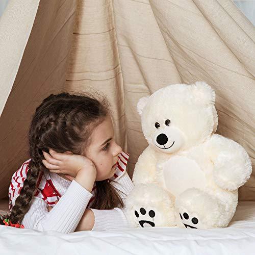 WOWMAX Small Cute Teddy Bear Daney Cuddly Stuffed Plush Animals Daney Teddy Bear Toy Doll for Birthday Christmas Ivory 10 Inches