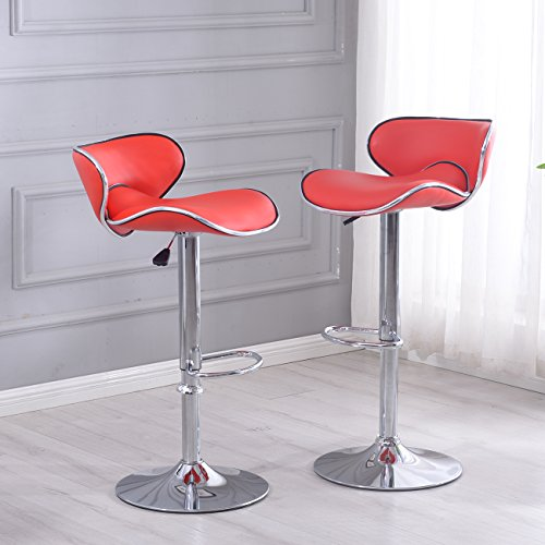 Belleze Adjustable Saddleback Design 360 Degree Swivel Bar Stool Seat - Set of 2 (Red) (Homedepot Outdoor Furniture)