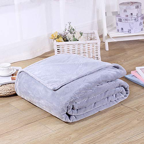 Treading - Home Textile Flannel Blanket Pink Plaid Super Warm Soft Blankets Throw on Sofa/Bed/Plane Travel Patchwork Solid Bedspread [ 180200CM Light Grey ] ()