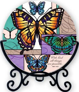 Butterfly Collage With God All Things are Possible Tea Light Candle Holder (Butterfly Collage)