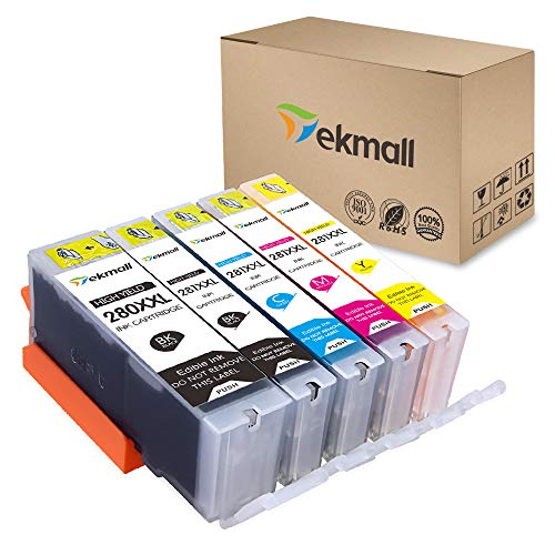 Tekmall Edible PGI-280XXL PGI 280 Compatible Ink Cartridge, Work with Pixma TS6120 TS6220 TR7520 TR8520 TS9520 TS9521C TS8120 TS8220 TS9120,5Pack ()