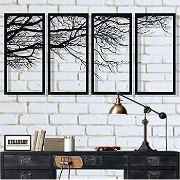 DEKADRON Metal Wall Art, Tree of Life 4 Pieces, Metal Tree Wall Art, Tree Sign, Metal Wall Decor, Interior Decoration, Housewarming Gift, 4 Panels Wall Hangings (40