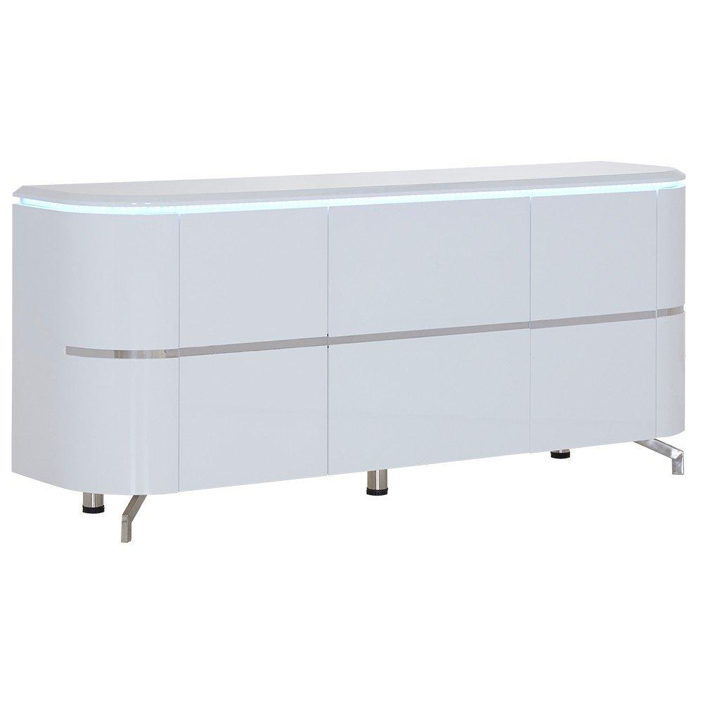 Sideboard mit LED-Lichtband 2 Türen 2 Schübe weiß 180x45x79cm - Modell Chico