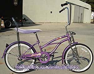 Amazoncom  Micargi Hero Girl39s Purple Beach Cruiser Bike Bicycle 20qu