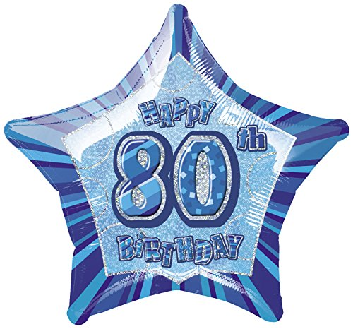 Star Foil Balloon - 80th Blue (Star 20 Inch Foil Balloon)
