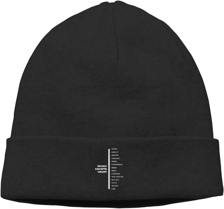 30de2c68077ce Hip-Hop Knitted Hat for Mens Womens Beard Growth Chart Unisex Cuffed Plain  Skull Knit