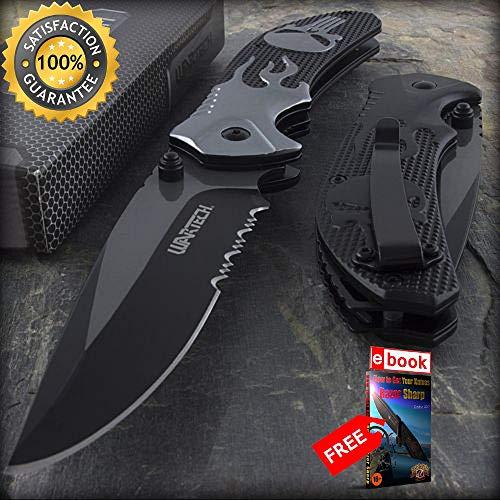 8.25'' WARTECH PUNISHER FLAMING SKULL SPRING ASSISTED FOLDING POCKET KNIFE Razor Sharp Blade Combat Tactical Knife + eBOOK by Moon Knives]()