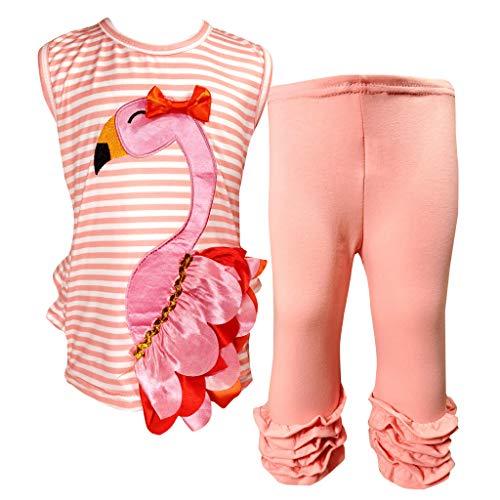Boutique Little Girls Summer Flamingo Ruffles Dress Capri Outfit Set Coral Stripes 6/2XL]()
