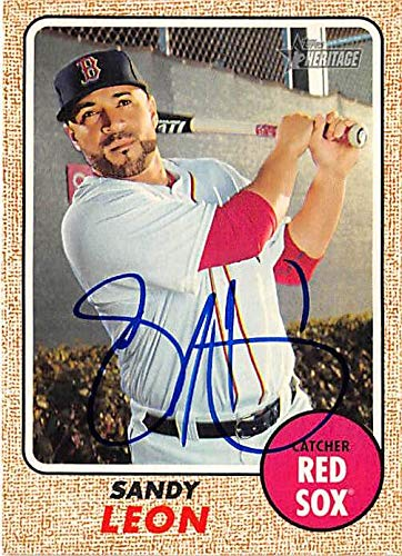 (Sandy Leon autographed baseball card 2017 Topps Heritage #354 (Boston Red Sox World Series)