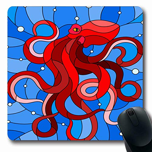 Ahawoso Mousepad Oblong 7.9x9.8 Inches Plankton Blue Batik Stained Glass Abstract Red Bottom Bright Bubble Contour Dome Design Office Computer Laptop Notebook Mouse Pad,Non-Slip Rubber ()
