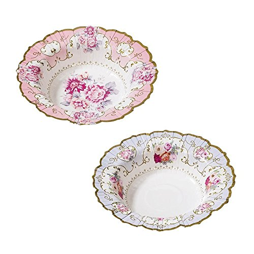 Talking Tables Truly Scrumptious Vintage Floral Paper Bowls in 2 Designs for a Tea Party or Birthday, Blue/Pink (24 Pack) by Talking Tables