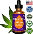 Full Spectrum Hemp Oil for Pain Relief - 500mg Herbal Drops - Stress Support, Anti Anxiety, Sleep Supplements - Natural Anti Inflammatory - Cold Pressed - Rich in Omega 3 6 9-1 Fl Oz (30 ml)