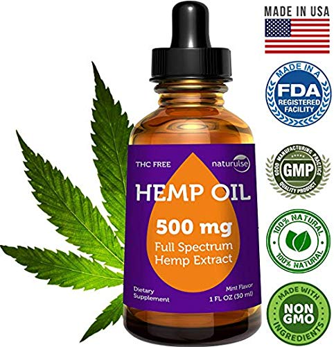 Full Spectrum Hemp Oil for Pain Relief – 500mg Herbal Drops – Stress Support, Anti Anxiety, Sleep Supplements – Natural Anti Inflammatory – Cold Pressed – Rich in Omega 3 6 9-1 Fl Oz (30 ml)