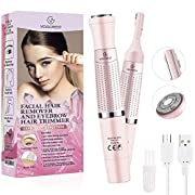 Eyebrow Trimmer & Facial Hair Removal for Women, 2 in 1 Eyebrow Razor and Hair Remover, Rechargeable Painless Eyebrow…