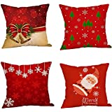 Christmas Day Gift,PP Stretch Cotton Linen Pillow Covers Square 18x18 inch Set of 4 Decorative for Bed and Sofa Cushion,Digital print and Invisible Zipper ,Bedding,Commemoration day Holiday Decor